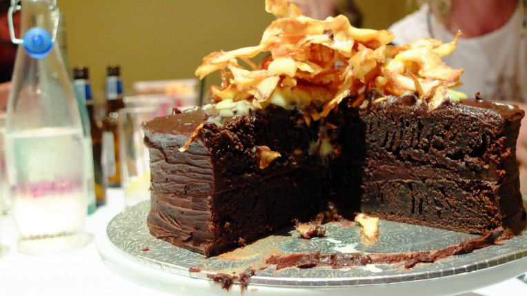 Salt & Vinegar Topped Chocolate Mud Cake
